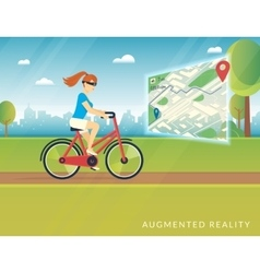 Young woman riding a bike and seeing bicycle path vector