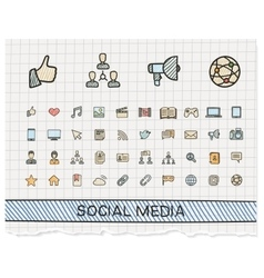Social media hand drawing line icons vector