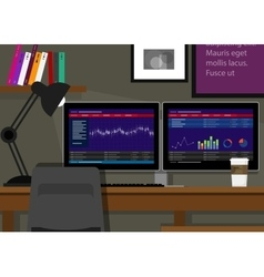 Dual two monitor stock transaction terminal desk vector
