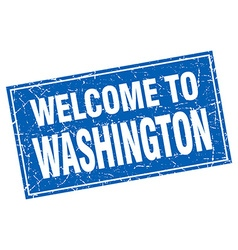 Washington blue square grunge welcome to stamp vector