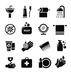 Hygiene bacteria virus protection icons vector