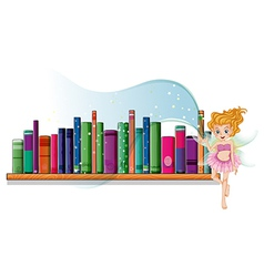 A fairy flying beside a wooden shelf vector image
