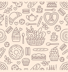Bakery seamless pattern food background of vector
