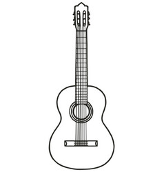 black and white classic guitar vector image