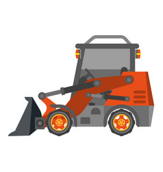 Bulldozer tractor with heap in flat design vector