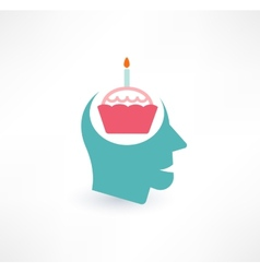 Cake and head icon thoughts about food concept vector