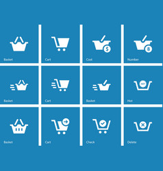 Checkout icons on blue background vector