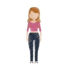 Drawing avatar woman pink shirt jeans vector