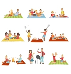 Families On Picnic Outdoors vector image