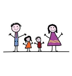 Family cartoon color vector