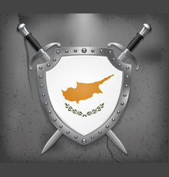 flag of cyprus the shield with national flag two vector image vector image