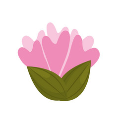 Flower decoration bud with leaves vector