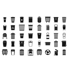 garbage can icon set simple style vector image vector image