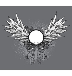 grunge vintage emblem with wings vector image vector image