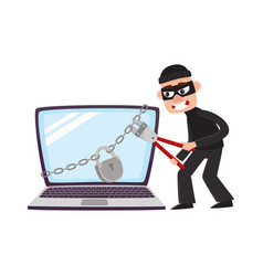 hacker breaking lock protecton on giant laptop vector image vector image