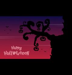 halloween background wiith tree pumpkin vector image vector image