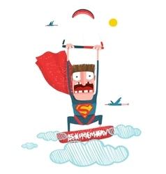 Kitesurfing superman trick cartoon in costume vector