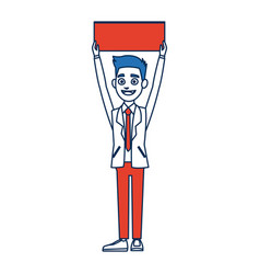 Man cartoon holding blank board election vector