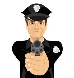 Mature policeman holding revolver gun vector