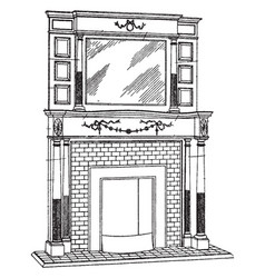 Medium brickwork mantel external accessories vector