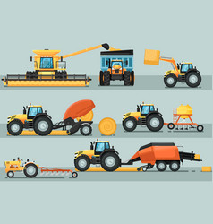 modern agricultural vehicle isolated set vector image