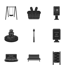 Park set icons in black style Big collection of vector image