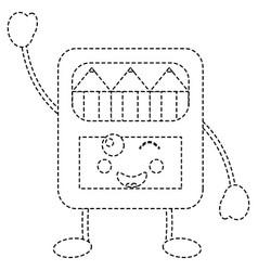 Pencils in box kawaii character vector