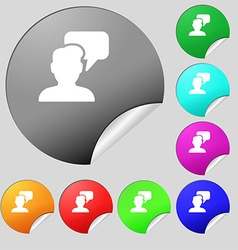 People talking icon sign Set of eight multi vector image vector image