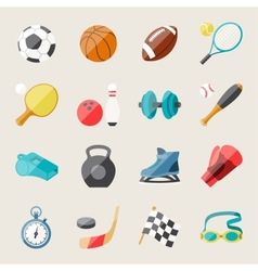 Set of sport icons in flat design style vector image