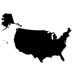 Silhouette map of the United States Of America vector image vector image