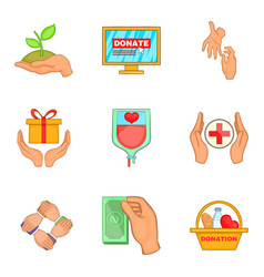 Welfare icons set cartoon style vector