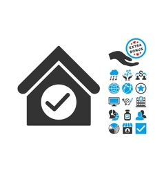 Check building flat icon with bonus vector