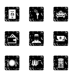 Hostel accommodation icons set grunge style vector