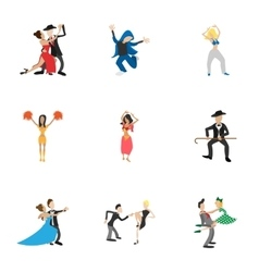 Dancing people icons set cartoon style vector