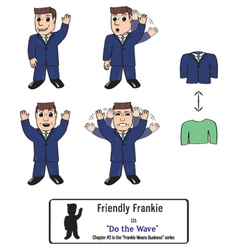 Three versions of a friendly businessman waving vector