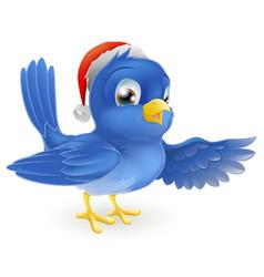 Christmas santa hat pointing bluebird vector