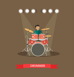Drummer playing drums in vector
