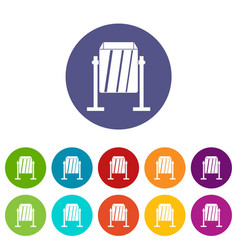metal dust bin icons set flat vector image