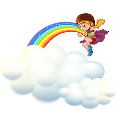 Girl playing hero on clouds vector