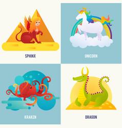 Fantasy creatures concept vector