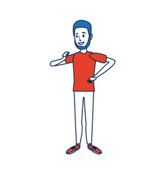 young man standing character person vector image