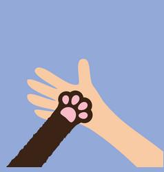 Hand arm holding cat dog paw print leg foot close vector