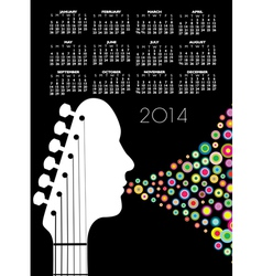2014 guitar headstock man calendar vector