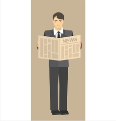 Young businessman reading a newspaper in their vector