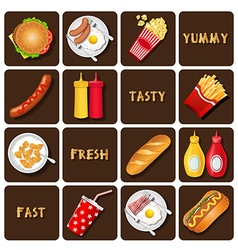 Collection of meal and snack and seasoning vector