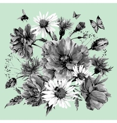 Vintage monochrome watercolor bouquet of vector