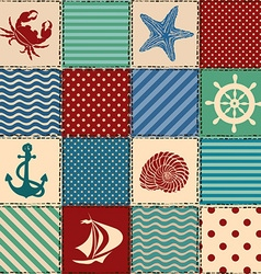 Nautical patchwork seamless pattern vector