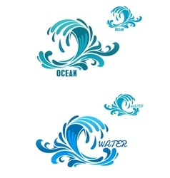 Blue wave icons with swirly water drops vector