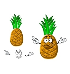 Cartoon tropical yellow pineapple fruit vector