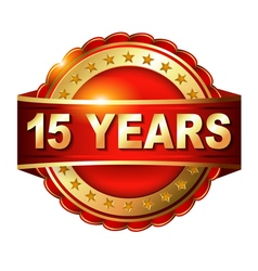 15 years anniversary golden label with ribbon vector